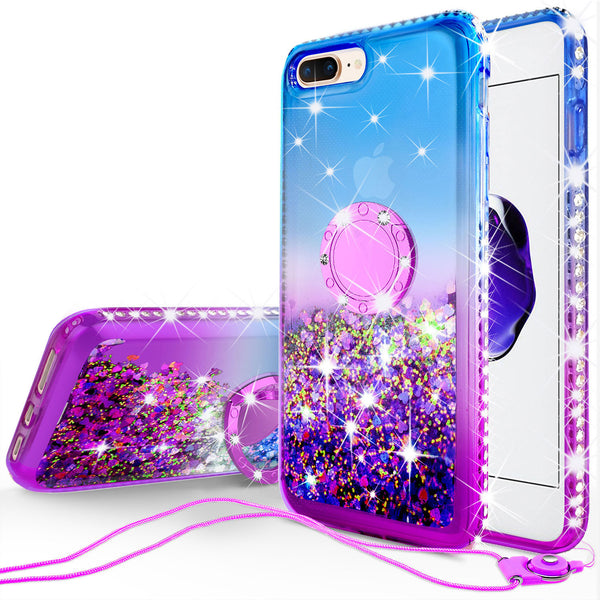 glitter ring phone case for Apple iPhone 7/8 Plus - blue gradient - www.coverlabusa.com