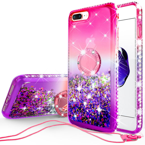 glitter ring phone case for Apple iPhone 7/8 Plus- pink gradient - www.coverlabusa.com