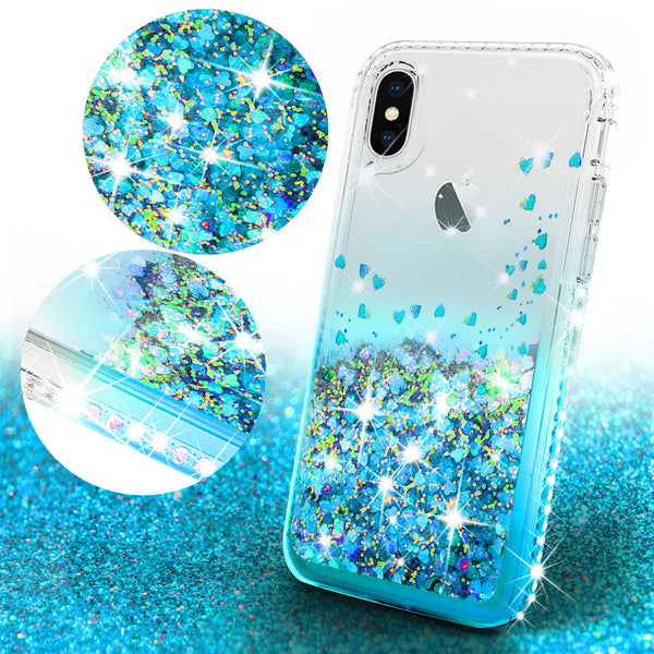 clear liquid phone case for apple iphone xs/iphone x - teal - www.coverlabusa.com