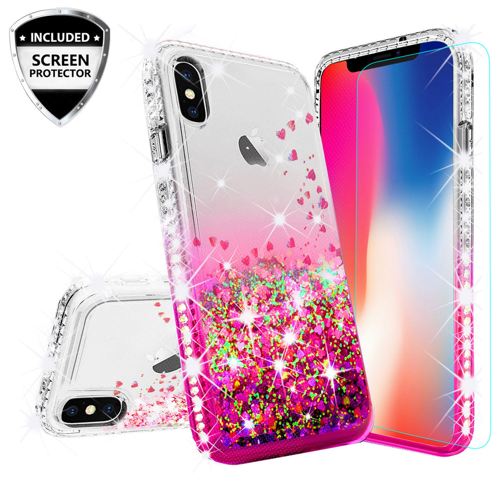 on sale 7d33d 38aca Apple iPhone XS Case, iPhone X Case,iPhone 10 Case Liquid Glitter Phone  Case Waterfall Floating Quicksand Bling Sparkle Cute Protective Girls Women  ...