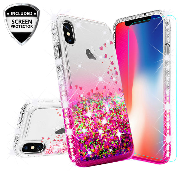 clear liquid phone case for apple iphone xs/iphone x - hot pink - www.coverlabusa.com