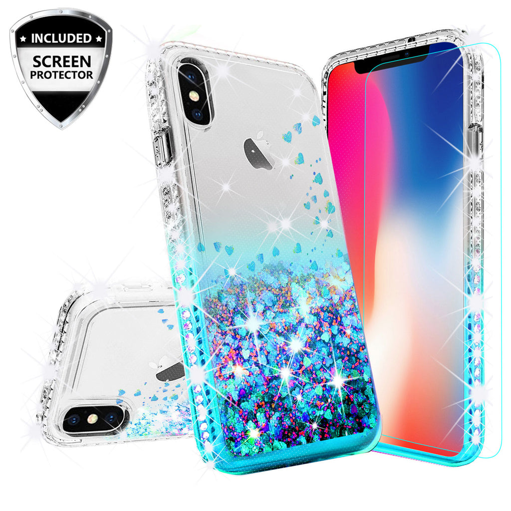 f7318da12c0 clear liquid phone case for apple iphone xs iphone x - teal - www.