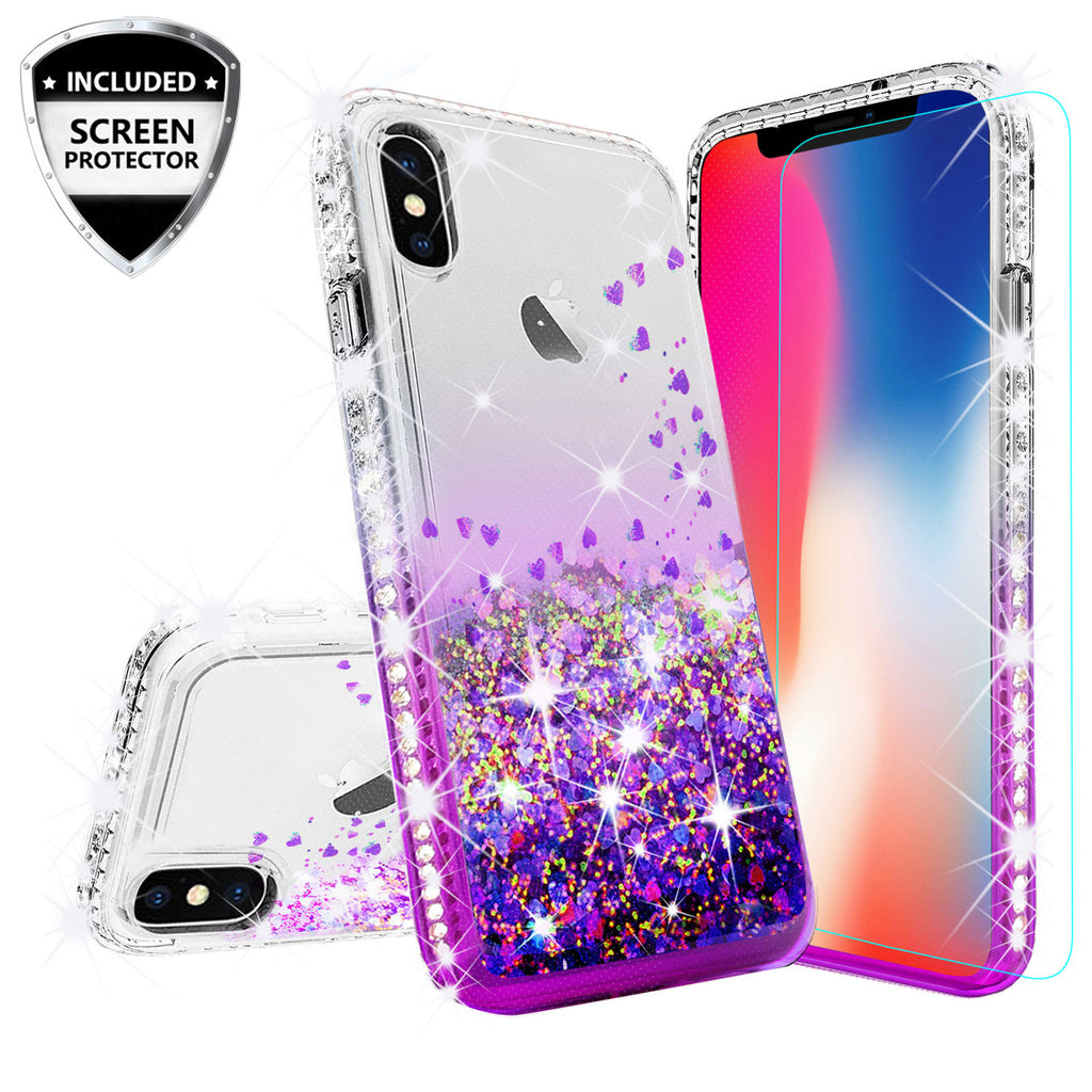 on sale 2e9b6 1571c Apple iPhone XS Case, iPhone X Case,iPhone 10 Case Liquid Glitter Phone  Case Waterfall Floating Quicksand Bling Sparkle Cute Protective Girls Women  ...