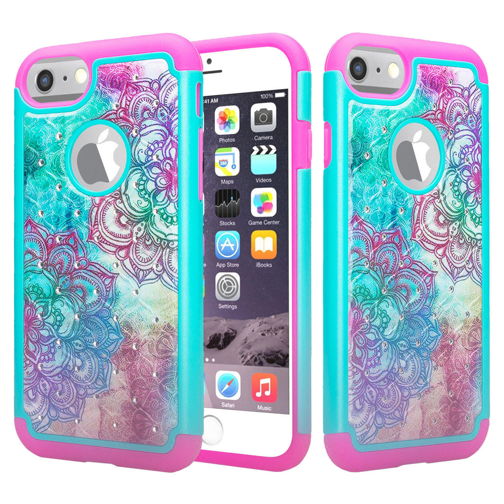 online retailer 8e30b 5c37f Apple iPhone 8 Case, Slim Hybrid Crystal Rhinestone Dual Layer [Shock  Resistant] Protective Cover for iPhone 8 - Teal Flower