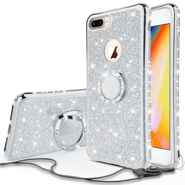 apple iphone 7 plus glitter bling fashion 3 in 1 case - silver - www.coverlabusa.com