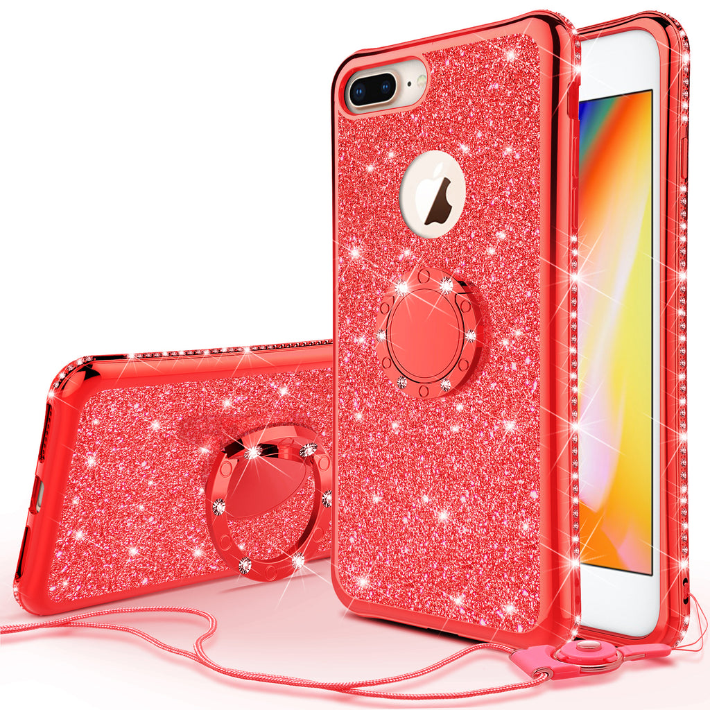 newest 016aa a6ffb Glitter Cute Phone Case Girls Kickstand Compatible for Apple iPhone 8 Plus  Case,Bling Diamond Bumper Ring Stand Soft Sparkly iPhone 8 Plus - Red