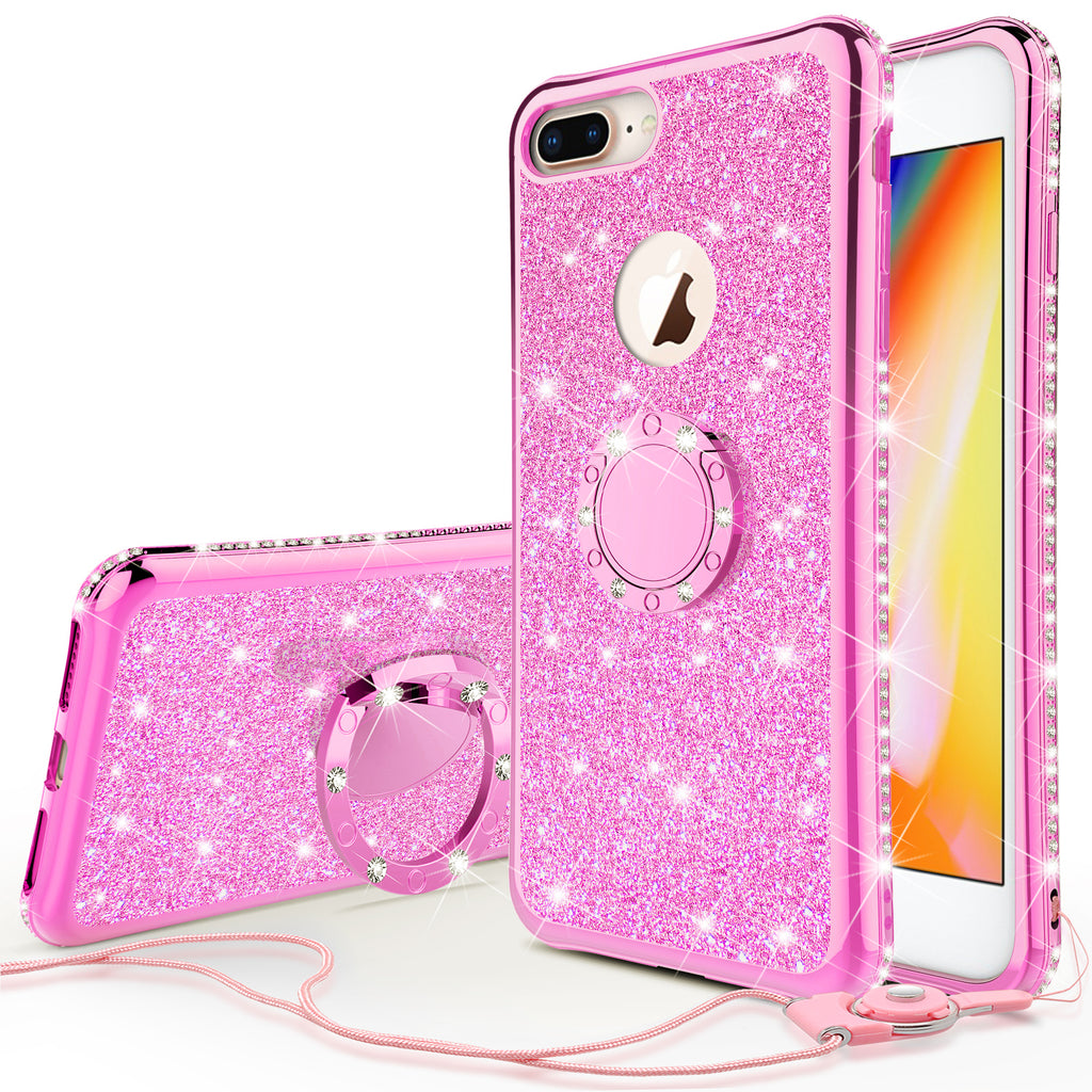 online retailer 9e3bb 0fa71 Glitter Cute Phone Case Girls Kickstand Compatible for Apple iPhone 7 Plus  Case,Bling Diamond Bumper Ring Stand Soft Sparkly iPhone 7 Plus - Hot Pink