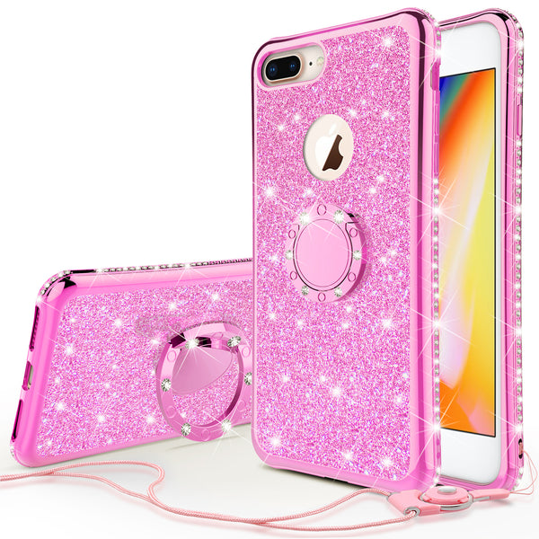 apple iphone 7 plus glitter bling fashion 3 in 1 case - hot pink - www.coverlabusa.com