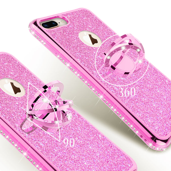 apple iphone 8 glitter bling fashion 3 in 1 case - hot pink - www.coverlabusa.com