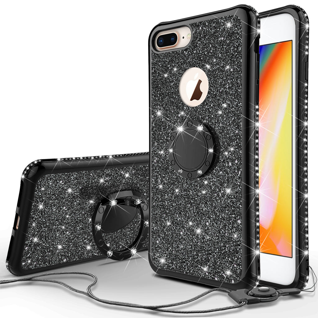 new styles f047e a48a0 Glitter Cute Phone Case Girls Kickstand Compatible for Apple iPhone 7  Case,Bling Diamond Bumper Ring Stand Soft Sparkly iPhone 7 - Black