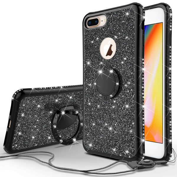 apple iphone 8 glitter bling fashion 3 in 1 case - black - www.coverlabusa.com