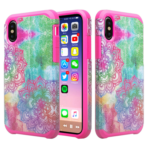 Apple iPhone X, Iphone 10 cover case - teal flower - www.coverlabusa.com
