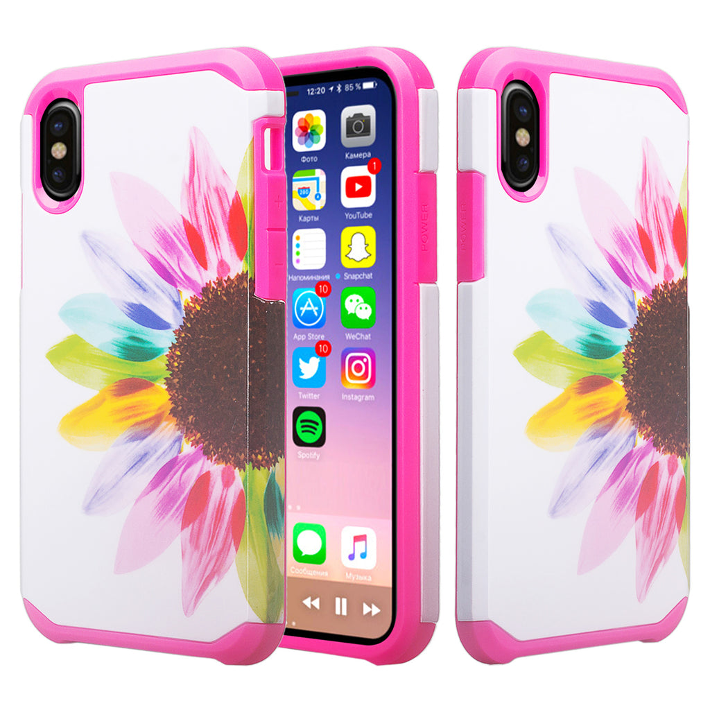 huge discount 7be9a c5e63 Apple iPhone XS Max Case, Apple A1921, Slim Hybrid Dual Layer Shockproof  Case Cover - Vivid Sunflower