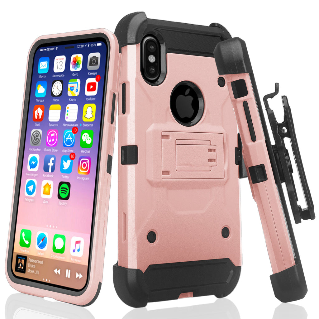 official photos 0f164 2d9de Apple iPhone X, Iphone 10 Case, Rugged Tri-Defender Hybrid Holster  [Kickstand] Rotating Clip Case Cover - Rose Gold