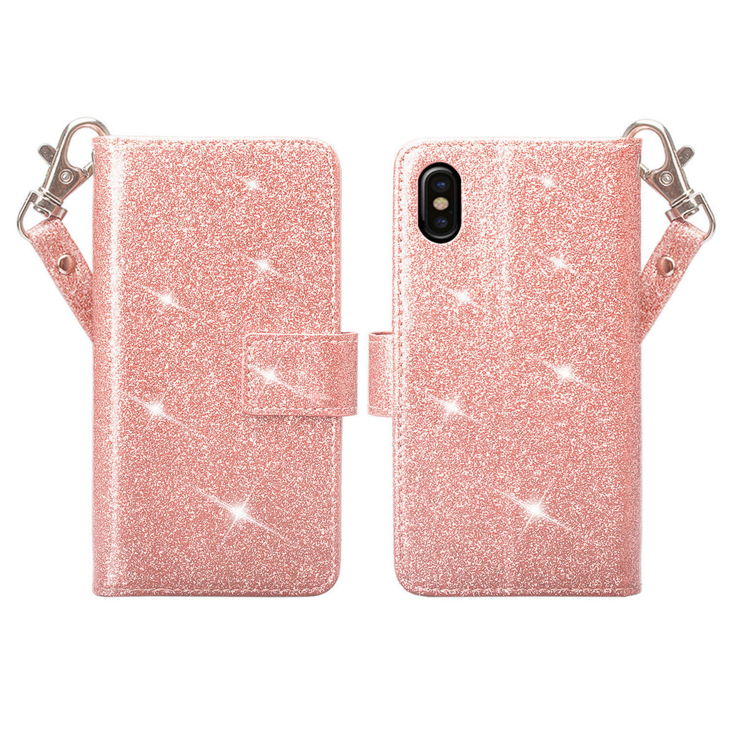 new product 7cac6 4510d Apple iPhone X, Iphone 10 Case, [Wrist Strap] Glitter Faux Leather Flip  [Kickstand Feature] Protective Wallet Case Cover Clutch - Rose Gold