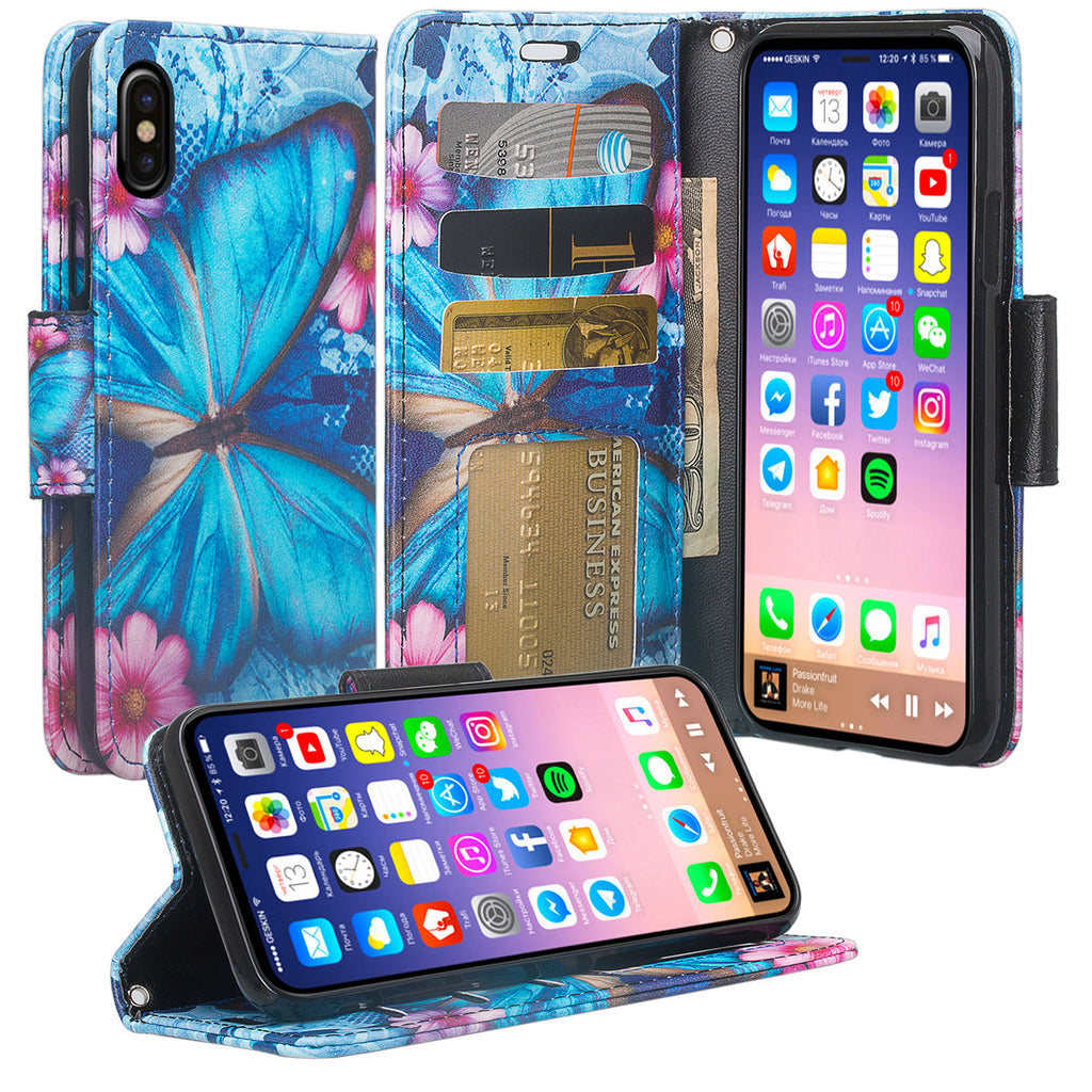 b20378c04350d9 apple iphone x, iphone 10 wallet case - blue butterfly - www.coverlabusa.