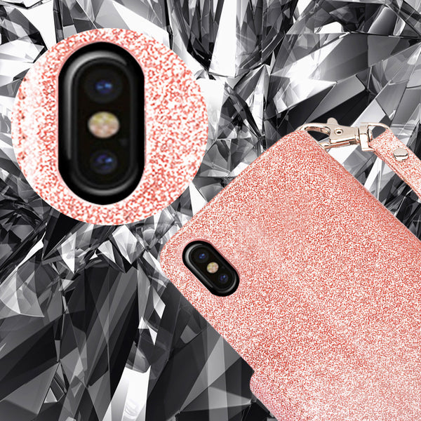 Apple iPhone XS Max Glitter Wallet Case - Rose Gold - www.coverlabusa.com