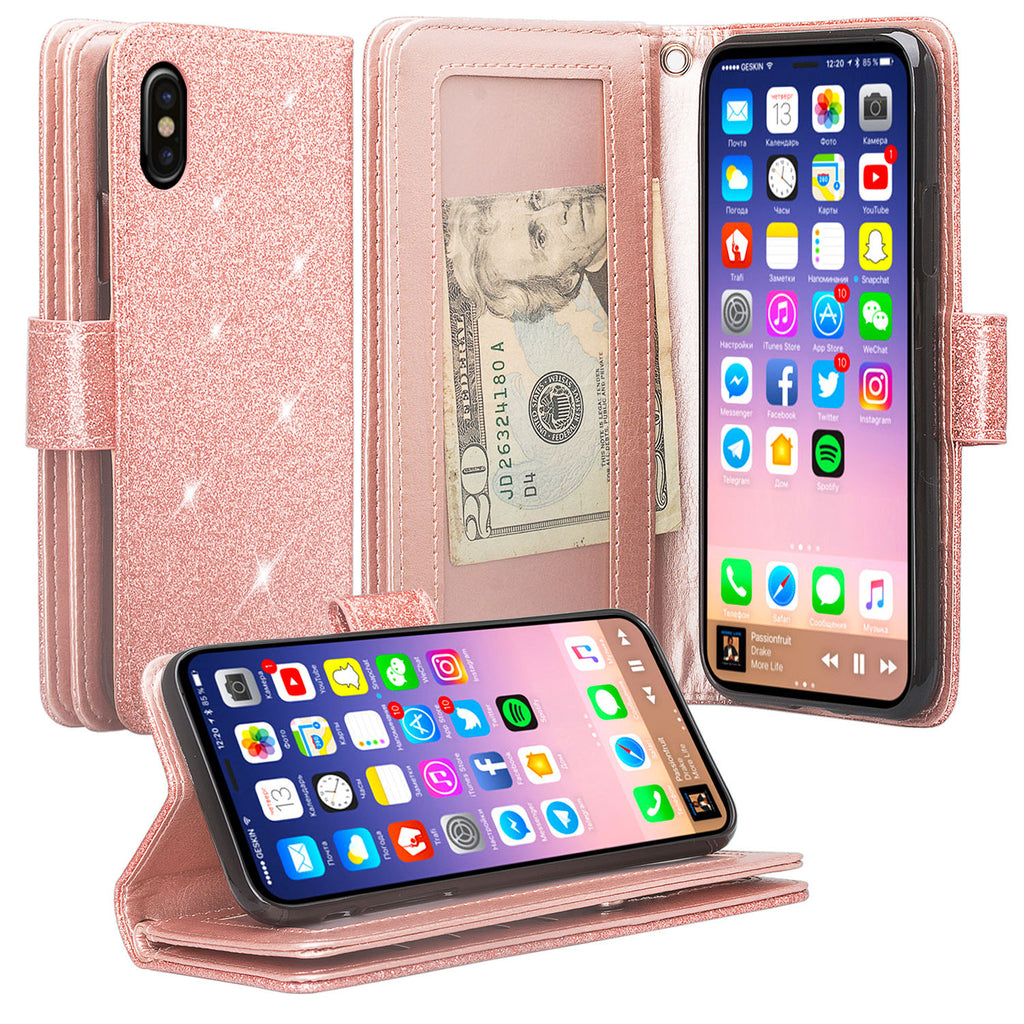 check out 6caa3 bf363 For Apple iPhone X | iPhone 10, Ten, [Wrist Strap] Glitter Faux Leather  Flip [Kickstand Feature] Protective Wallet Case Clutch - Rose Gold