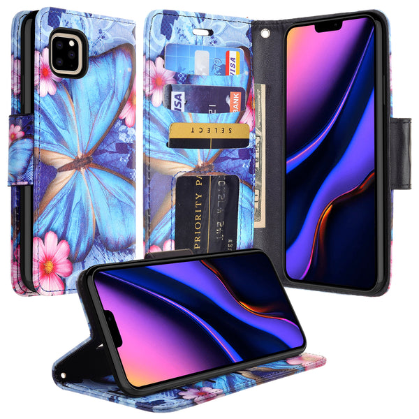 apple iphone 11 pro max wallet case - blue butterfly - www.coverlabusa.com