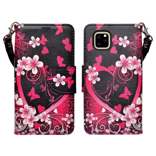 apple iphone 11 wallet case - heart butterflies - www.coverlabusa.com