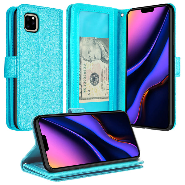apple iphone 11 pro glitter wallet case - teal - www.coverlabusa.com