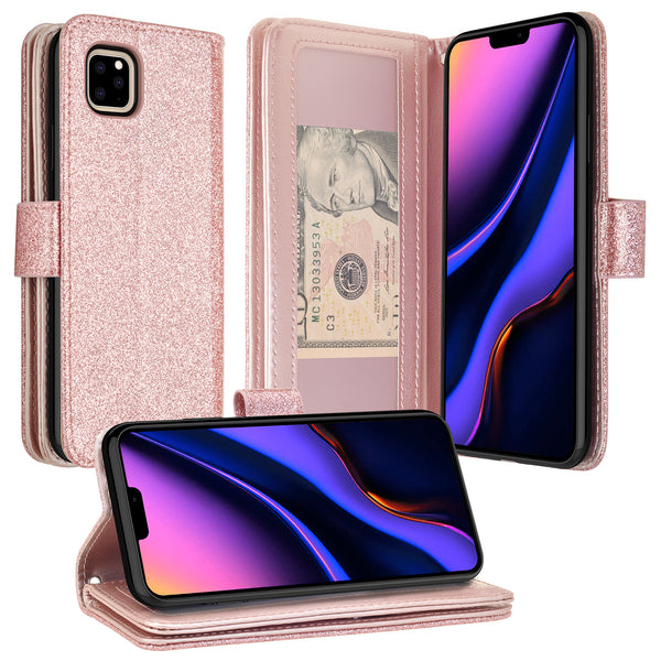 apple iphone 11 pro max glitter wallet case - rose gold - www.coverlabusa.com