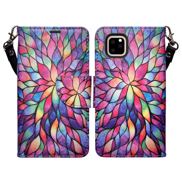 apple iphone 11 pro max wallet case - rainbow flower - www.coverlabusa.com
