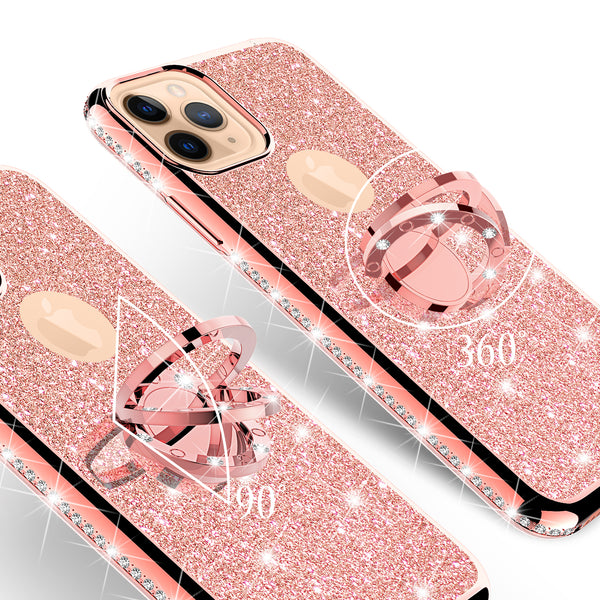 apple iphone 11 glitter bling fashion case - rose gold - www.coverlabusa.com