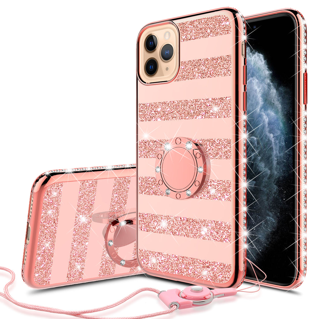 Glitter Cute Phone Case Girls Kickstand Compatible for Apple iPhone 11 Pro  Max Case,Bling Diamond Bumper Ring Stand Soft Sparkly iPhone 11 Pro Max ,