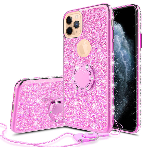 apple iphone 11 pro max glitter bling fashion 3 in 1 case - hot pink - www.coverlabusa.com