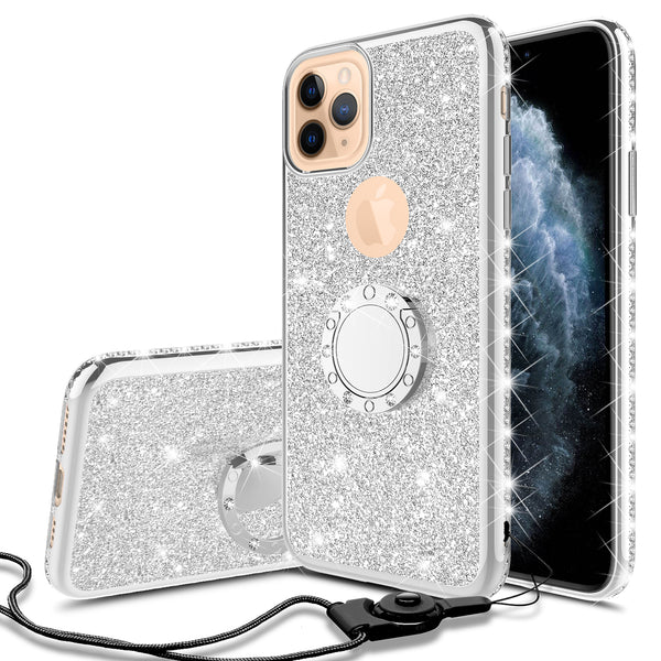 apple iphone 11 pro max glitter bling fashion 3 in 1 case - silver - www.coverlabusa.com
