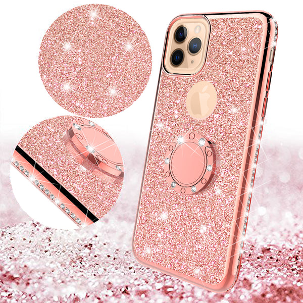 apple iphone 11 pro max glitter bling fashion 3 in 1 case - rose gold - www.coverlabusa.com