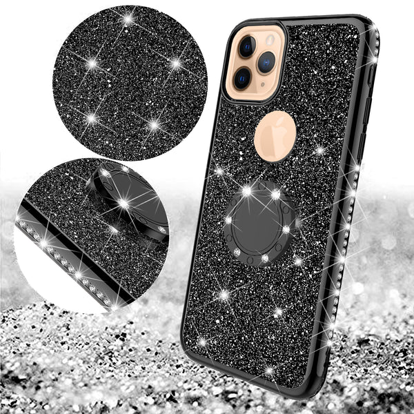 apple iphone 11 glitter bling fashion case - black - www.coverlabusa.com