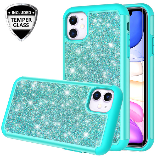 apple iphone 11 glitter hybrid case - teal - www.coverlabusa.com