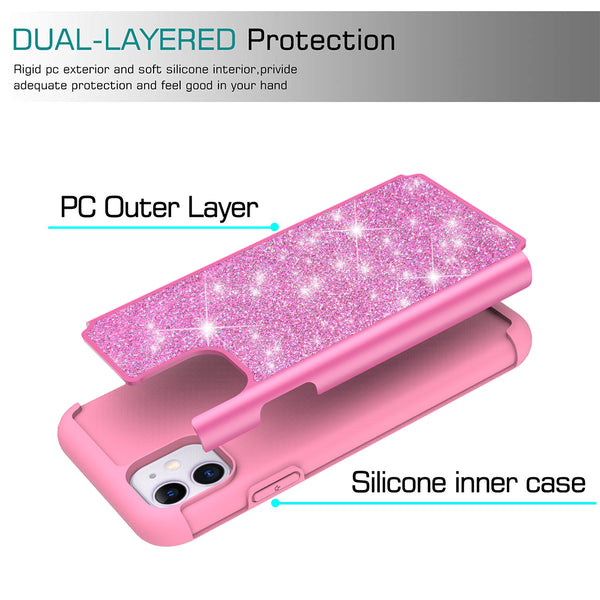 apple iphone 11 glitter hybrid case - hot pink - www.coverlabusa.com