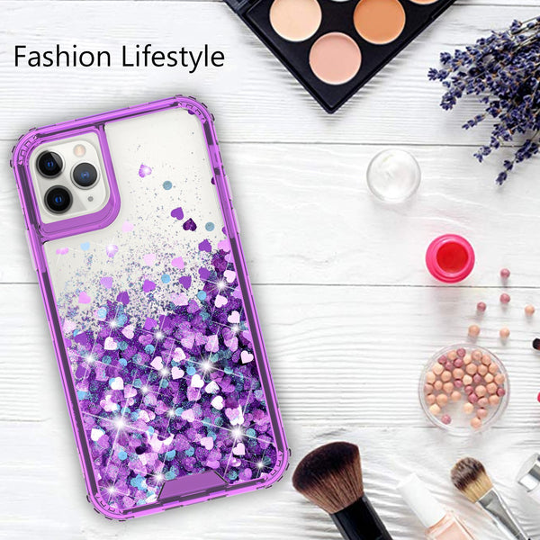 hard clear glitter phone case for apple iphone 11 pro - purple - www.coverlabusa.com