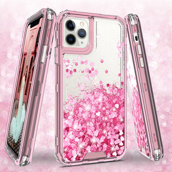 hard clear glitter phone case for apple iphone 11 pro max - pink - www.coverlabusa.com