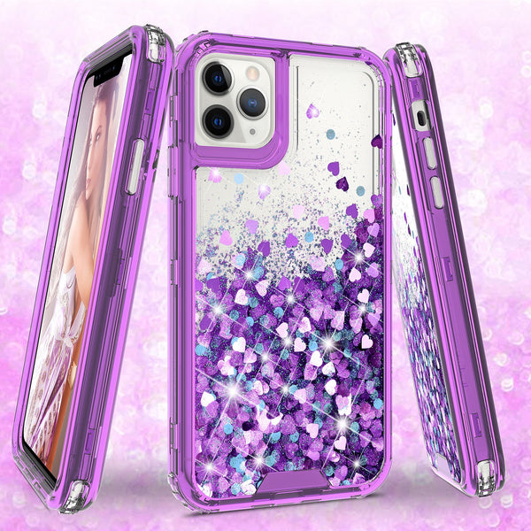 hard clear glitter phone case for apple iphone 11 pro max - purple - www.coverlabusa.com