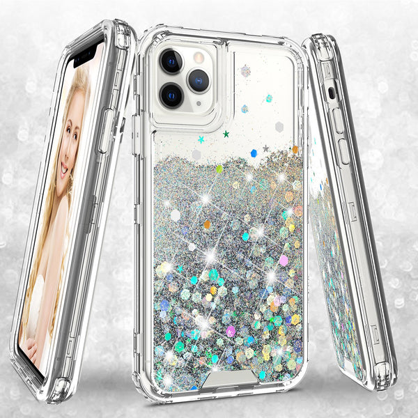 hard clear glitter phone case for apple iphone 11 - clear - www.coverlabusa.com