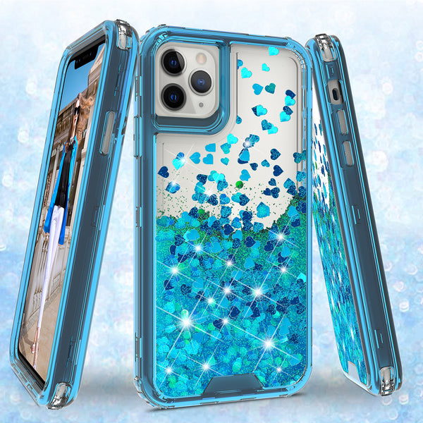 hard clear glitter phone case for apple iphone 11 pro max - teal - www.coverlabusa.com