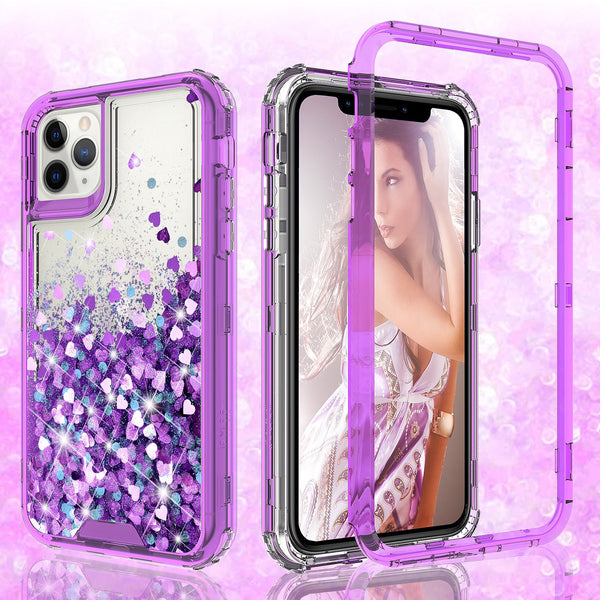 hard clear glitter phone case for apple iphone 11 - purple - www.coverlabusa.com