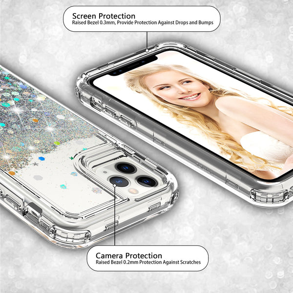hard clear glitter phone case for apple iphone 11 pro max - clear - www.coverlabusa.com