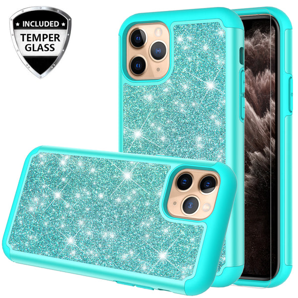 apple iphone 11 pro glitter hybrid case - teal - www.coverlabusa.com