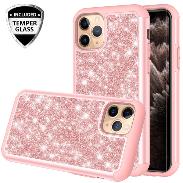 apple iphone 11 pro glitter hybrid case - rose gold - www.coverlabusa.com