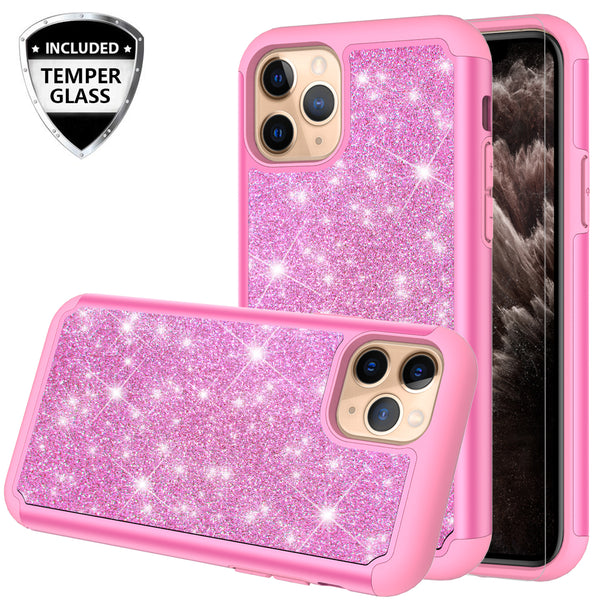 apple iphone 11 pro glitter hybrid case - hot pink - www.coverlabusa.com