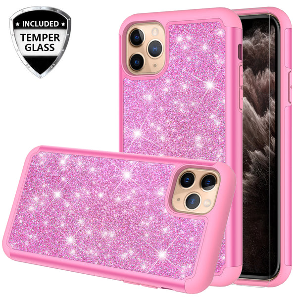 apple iphone 11 pro max glitter hybrid case - hot pink - www.coverlabusa.com