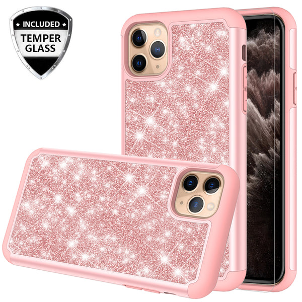 apple iphone 11 pro max glitter hybrid case - rose gold - www.coverlabusa.com