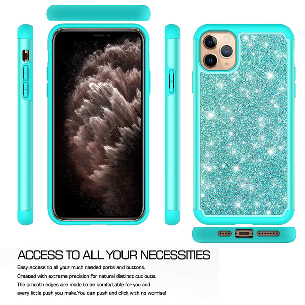 apple iphone 11 pro max glitter hybrid case - teal - www.coverlabusa.com