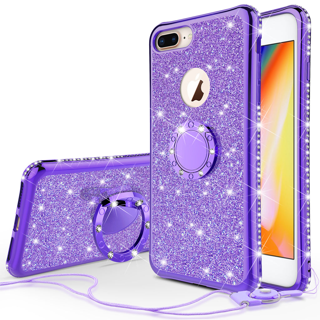 newest 7d5ae 1309a Glitter Cute Phone Case Girls Kickstand Compatible for Apple iPhone 8  Case,Bling Diamond Bumper Ring Stand Soft Sparkly iPhone 8 - Purple