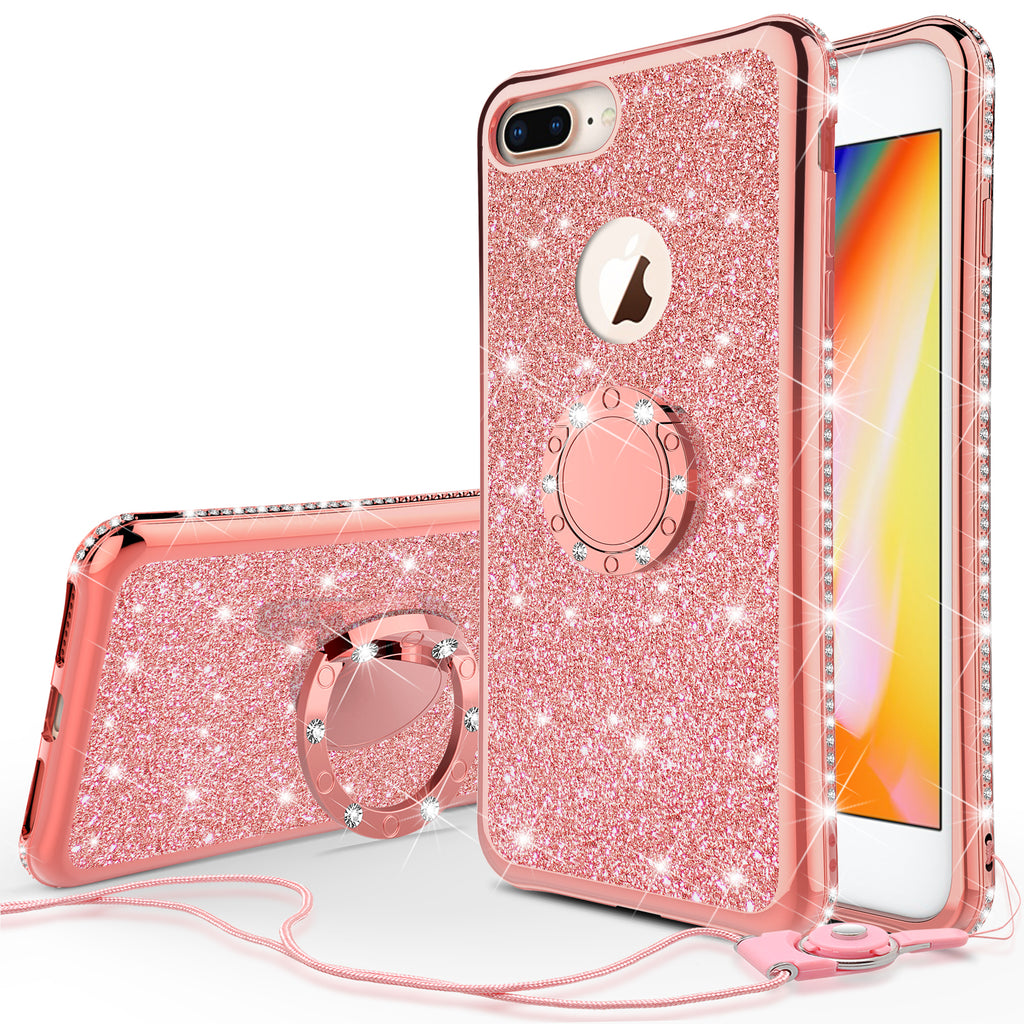 Glitter Cute Phone Case Girls Kickstand Compatible For Apple Iphone 7 Casebling Diamond Bumper Ring Stand Soft Sparkly Iphone 7 Rose Gold